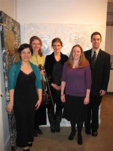 Anne with the Momenta Quartet after the premiere of Years Later. April 27, 2011.