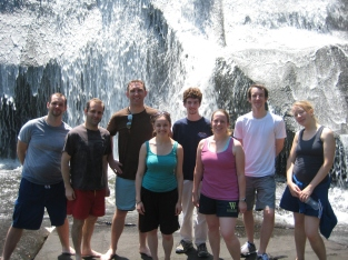 The 2011 Brevard composers stepping out of the studio to see some waterfalls in the Pisgah forest