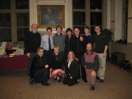 Participating composers at the Temple Composer's Orchestra concert with professor Maurice Wright. March 2, 2010.
